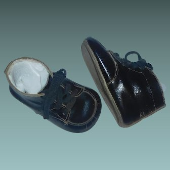 Pair of Black Leather Shoes for a Boy or Character Doll