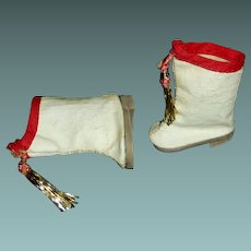 Pair of Red and White Majorette Doll Boots