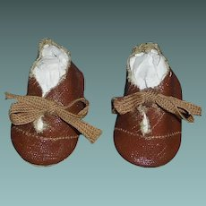 Pair of Vintage Brown Oil Cloth Boy Doll Shoes