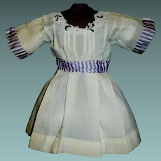 Pale Yellow Doll Dress with Purple Trim