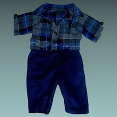 Cute Blue Wool Set for a Boy Doll, Teddy Bear