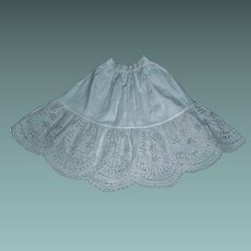 Lovely Antique White Cotton Eyelet Petticoat