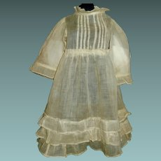 Pretty Antique Yellow Organdy Doll Dress, TLC