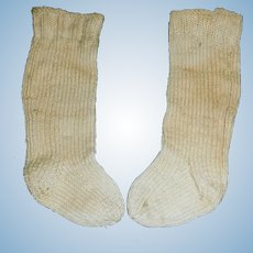 Pair of Antique Wool Knit Doll Stockings