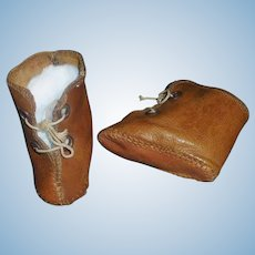 Pair of Early Brown Leather Doll Boots
