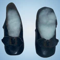 Pair of Antique Black Leather French Fashion Doll Shoes