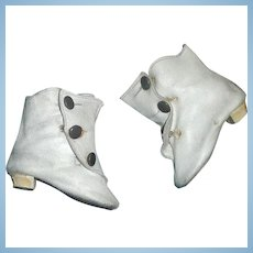 Pair of Antique White Leather Heeled Fashion Doll Boots