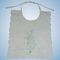 Sweet Rabbit Easter Bib for a Baby Doll
