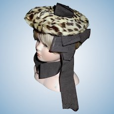 Early Made Leopard Print Fur Doll Hat