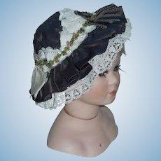 Dark Brown Silk Doll Hat