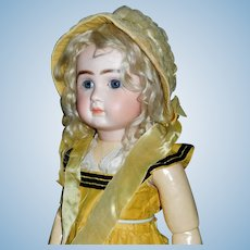 Early Yellow Crepe Bonnet for a Large Doll