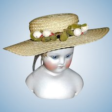Sweet Straw Hat for a Small Doll