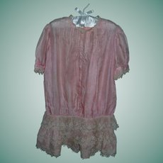 Fabulous Antique Pink Silk Girl's Dress