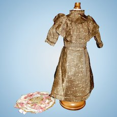 Antique Brown Silk Doll Dress with Straw Hat, Fragile