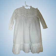 Lovely Antique White Lawn Dress, Large Doll