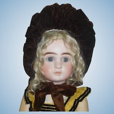 Lovely Antique Brown Straw Feather Bonnet