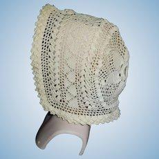 Pretty Cotton Crochet Antique Doll Bonnet