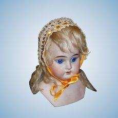 Sweet Small Ecru Crocheted Doll Bonnet