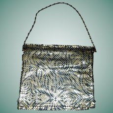 Lovely Gold / Silver Tone Mesh Purse, Black Swirls