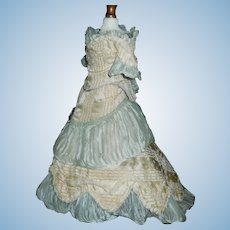 Beautiful Silk Antique French Fashion Doll Gown