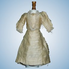 Antique French Fashion Silk Doll Dress, Damaged, Pattern, Study or As Is