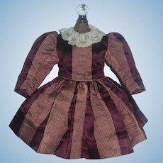 Sweet Antique Dark Maroon Silk French or German Bebe Doll Dress