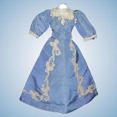 Lovely Antique  Blue Silk French Fashion Doll Dress