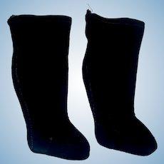 Nice Pair of Antique Black Silk Doll Stockings,