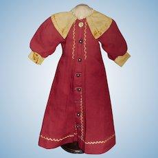 Wonderful Antique Maroon Wool Challis Doll Coat