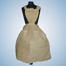 Lovely Ecru Doll Apron for a Cloth, Papier Mache, China