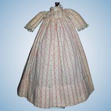 Darling Small Antique Cotton Calico Print Doll Dress. Papier Mache, Cloth