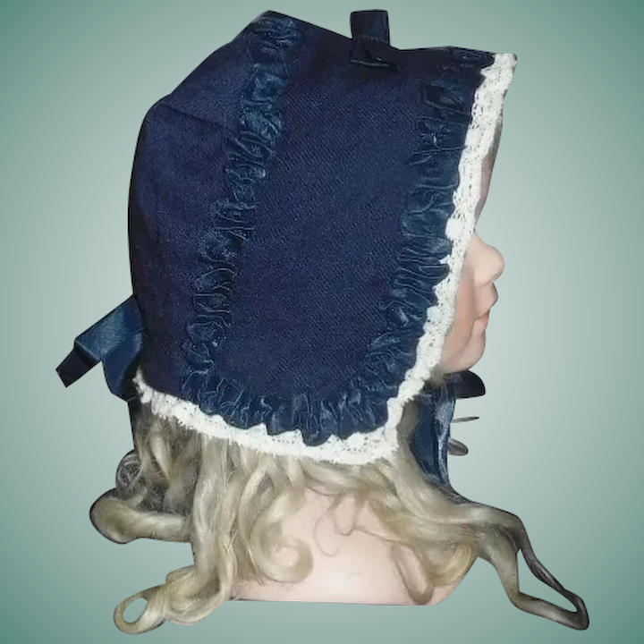 fa0882e0a4 Dark Blue Wool Doll Bonnet, Silk Ribbon