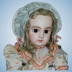 Sweet Early Organdy Doll Bonnet, Pink Ribbon Rosettes
