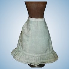 Lovely Antique  Blue Stripe Soft Flannel Petticoat w Feather Stitching
