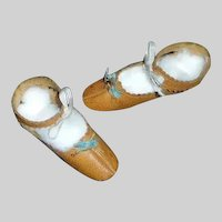 Wonderful Pair of Brown Leather Doll Shoes, China, Papier Mache