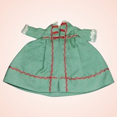 Sweet Early Green Wool Small Doll Coat w Red Feather Stitching