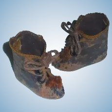 Pair of Rare Antique  Bru Fashion Doll Boots 3