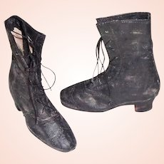 Great Pair of Early Black High Fashion Doll Boots