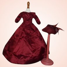 Lovely Antique Crimson Red Silk Fashion Doll Dress w Hat