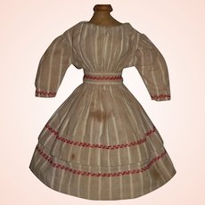 Nice Antique Cotton Flannel Doll Dress, Red Feather Stitching