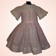 Sweet Antique Pink Print Doll Dress