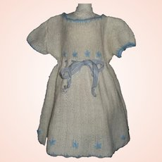 White Knit Vintage Doll Dress, Blue Flowers