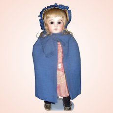 Sweet Blue Wool Cape and Bonnet, French or German Doll