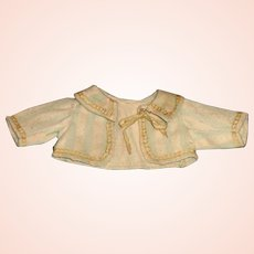Small Antique Wool Doll Jacket, Gold Ribbons