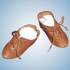 Great Pair of Antique Boy / Character Brown Leather Doll Shoes