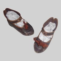Nice Pair of Antique French Bebe Jumeau Doll Shoes, 10
