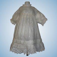 Nice Antqiue White Cotton Eyelet Dress, Large Doll