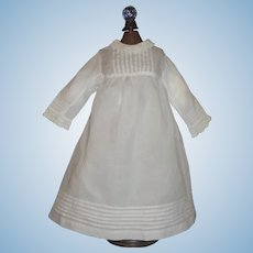 White Cotton Antique Doll Dress, Pintucks and Lace