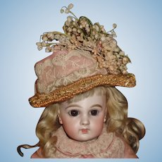 Fabulous Straw Chapeau for An Antique Doll, Early Materials
