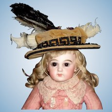 Wonderful Brown Velvet Antqiue Doll Hat, Early Material
